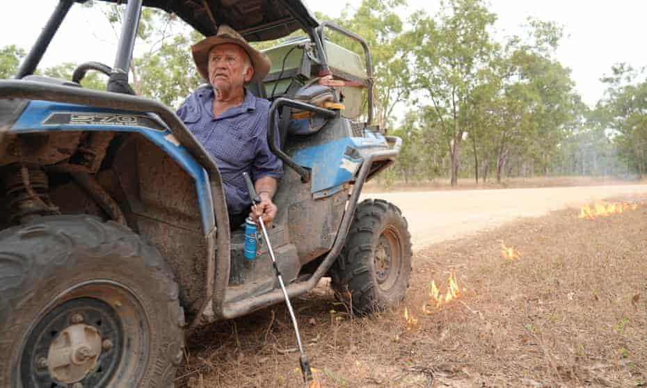 Tom Shephard backburns on his property. He has seen off poachers in the past.