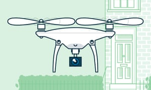 A drawing of a drone from  'Here come the drones', for Guardian Sustainable Business