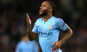 Raheem Sterling of Manchester City celebrates after scoring. But the club is under fire off the pitch.