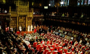 The state opening of parliament in the House of Lords.
