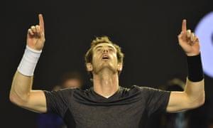 Murray celebrates his victory.