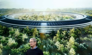 Tim Cook, Apple CEO, in front of a artist's impression of its new Cupertino HQ.