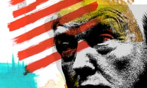 Illustration of Donald Trump with the US flag