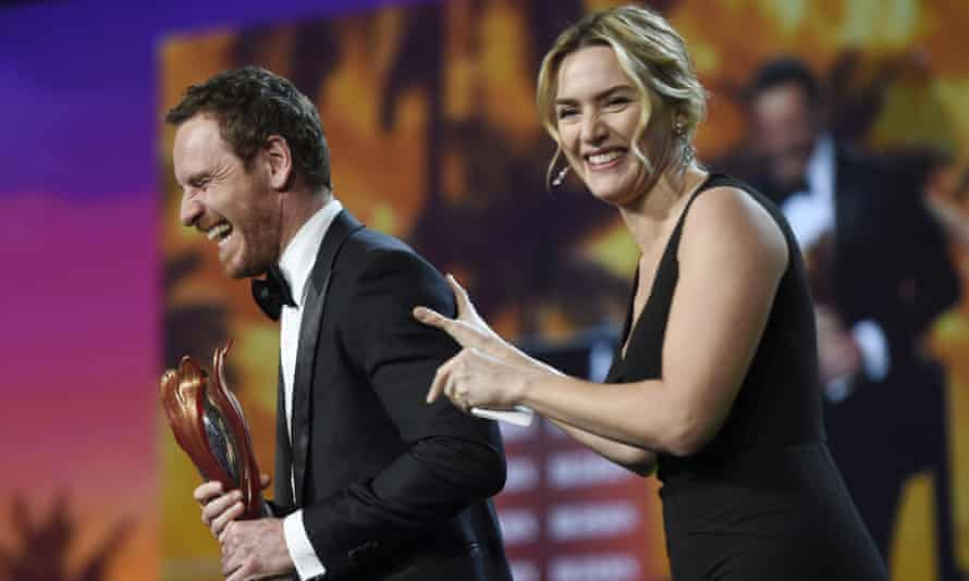 Kate Winslet with Steve Jobs co-star Michael Fassbender at the Palm Springs film festival awards gala, 2 January 2016.