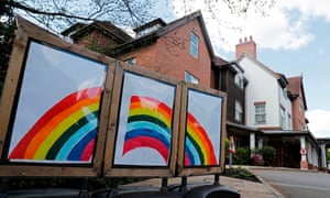 A rainbow triptych is seen outside the Sunrise Senior Living care home in Esher, southwest of London, in May.