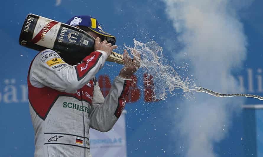 Daniel Abt enjoys a happier moment celebrating victory at the Formula E Mexico City race in March 2018.
