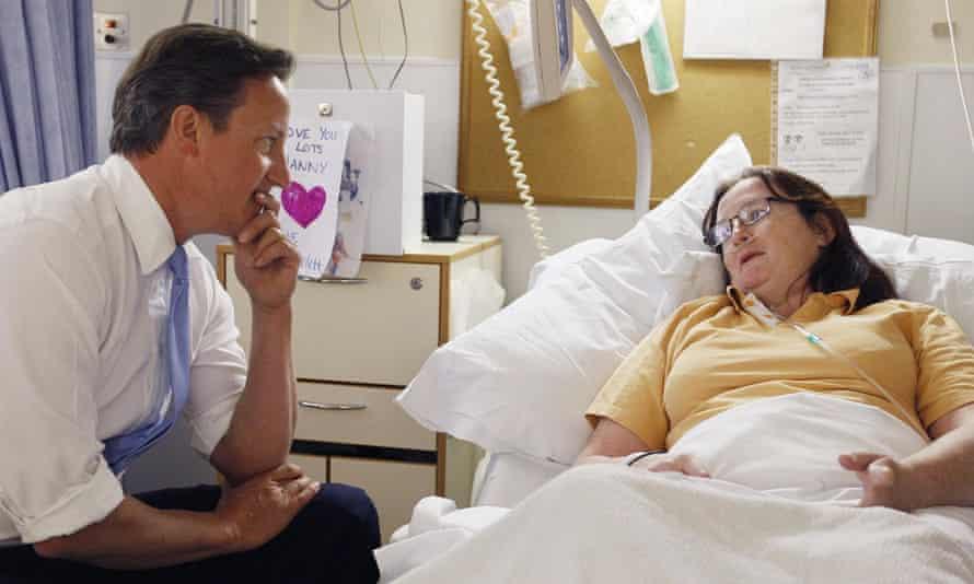 David Cameron at University College Hospital.
