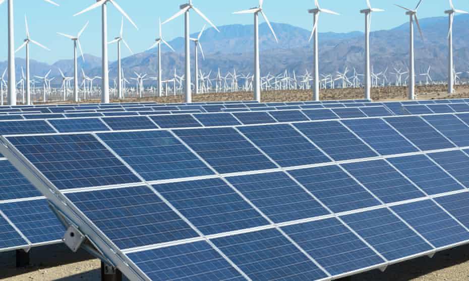 Large expanse of solar panels
