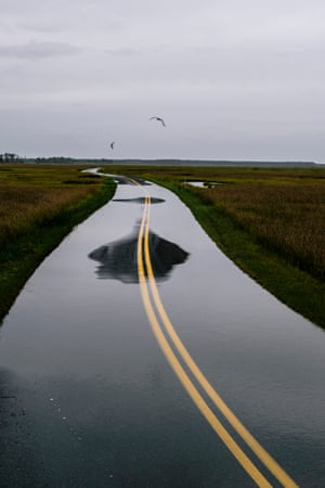 A flooded road cutting through Blackwater National Wildlife Refuge. People plan their schedules around high tide, whether it's running errands or work. It has even affected the timing of school buses.