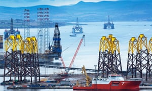 Oil platforms and rigs sit in the 'graveyard' in Cromarty Firth, Scotland, where many unused rigs have arrived since the outbreak of Covid-19.