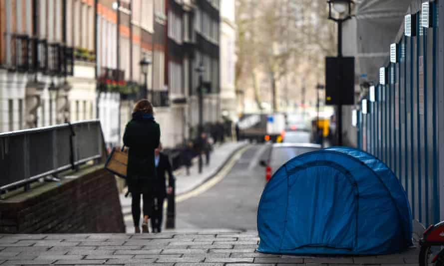 A homeless person's ten in London, England.