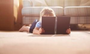 schoolgirl checking her notebook