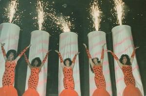 Ten drag queens in the Diana Ross 'Chain reaction' show.