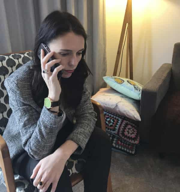 Jacinda Ardern takes a call from US President Donald Trump, in Wellington.