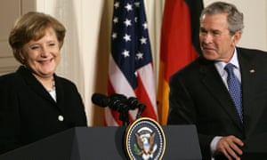 German Chancellor Angela Merkel and then US President George W Bush addressing reporters at the White House in 2006