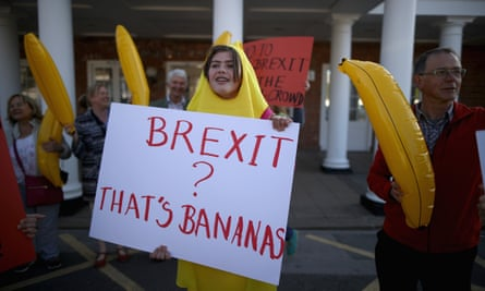 Protesters at a Vote Leave rally in York