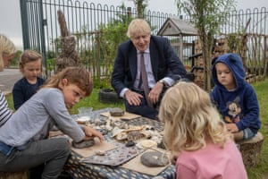 Boris Johnson visitng the St Issey Primary school near Wadebridge in Cornwall this morning, ahead of his meeting with Joe Biden this afternoon.