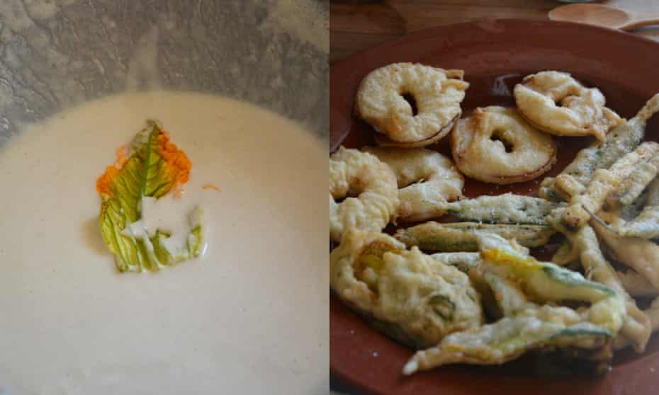 Deeply dishy: Rachel Roddy's fritti of sage leaves., apple and courgette fried in batter.