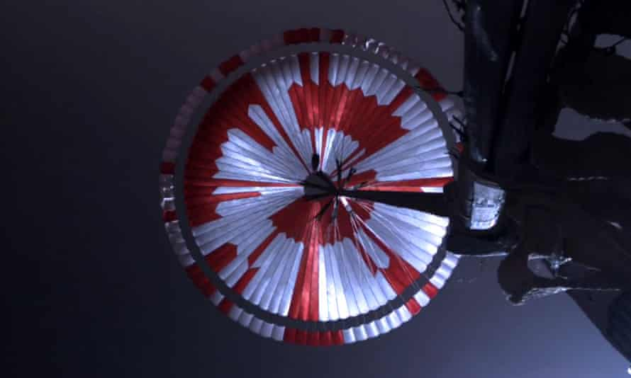 Nasa's Perseverance rover took this photo of the parachute as it was lowered to the surface of Mars.