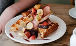 Bacon and fruit waffles at The Pig and Pastry, York.