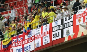 England fans drape their flags around the Spartak stadium in Moscow, where their team played Colombia
