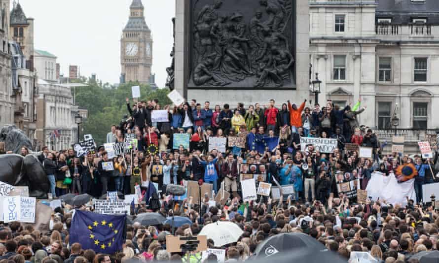 Anti-Brexit protesters gather in Trafalgar Square on 28 June
