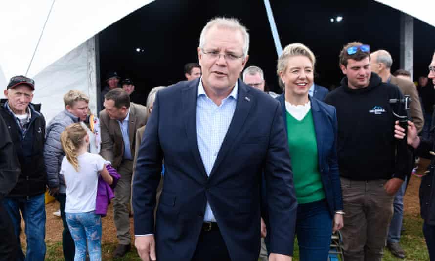 Prime minister Scott Morrison with the former sport minister Bridget McKenzie