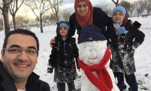 Osama Gaweesh with his family.