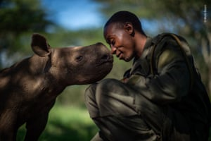 The Surrogate Mother by Martin Buzora (Canada).  Elias Mugambi, a ranger, greets Kitui, an orphaned black rhino