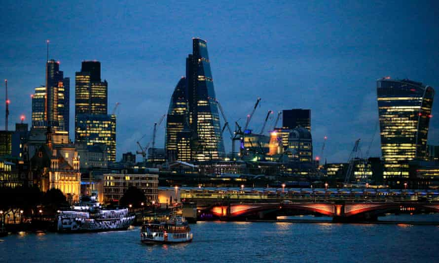 The City of London skyline at dusk