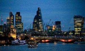 The City of London skyline at dusk