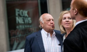 Roger Ailes leaves Fox News on Tuesday with his wife, Elizabeth Tilson.