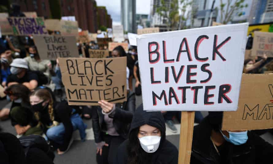 A Black Lives Matter protest outside the US embassy in London last summer.