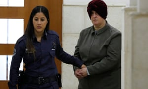 Malka Leifer, a former teacher accused of dozens of cases of sexual abuse of girls at a school in Melbourne, arrives for a hearing at the district court in Jerusalem in February 2018.