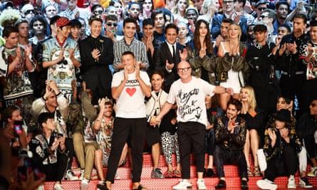 Stefano Gabbana and Domenico Dolce at Milan men's fashion week in summer last year.