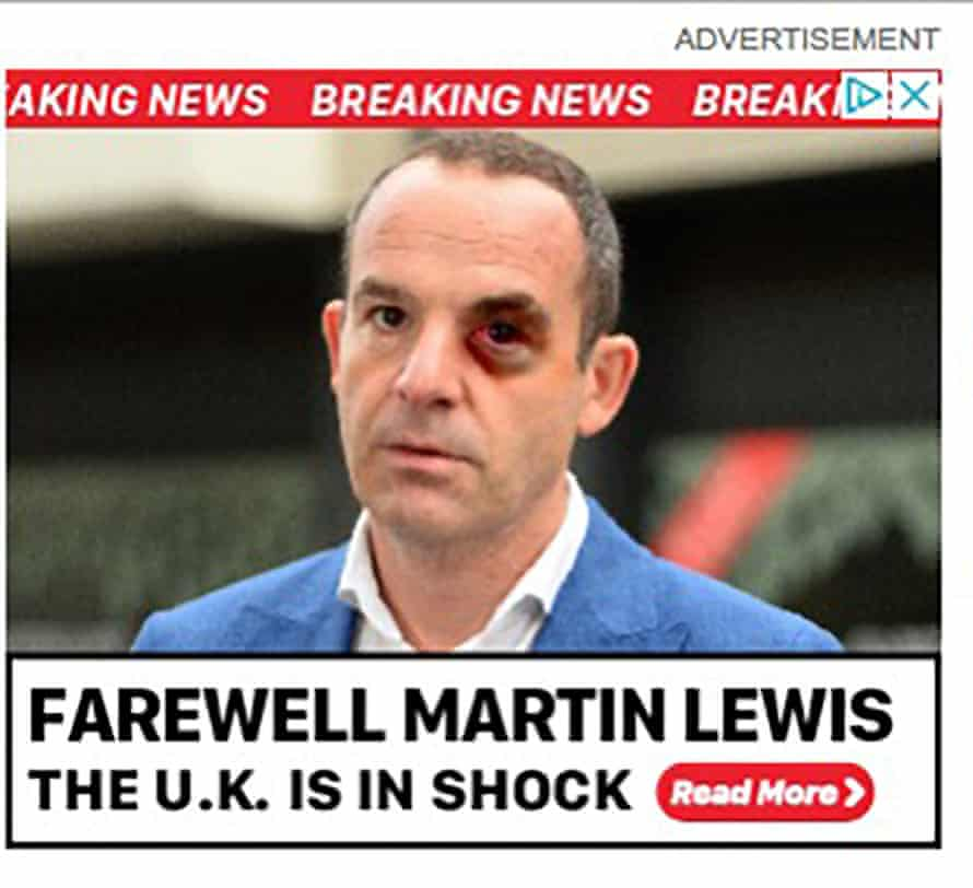 A fake advert featuring Martin Lewis.