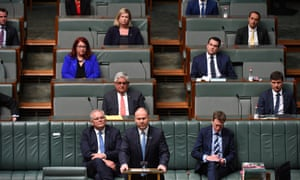 Treasurer Josh Frydenberg during the delivery of the 2020 federal budget in the House of Representatives on 6 October, 2020 in Canberra, Australia.