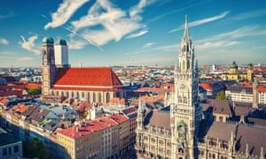 The town hall (Neues Rathaus) and Frauenkirche cathedral in Munich.