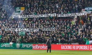 Celtic fans hold their banner during the game with Hearts on 27 February.