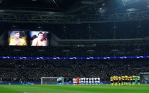 General view of players from both teams, officials and fans observing a minute's silence in memory of Gordon Banks and Emiliano Sala.