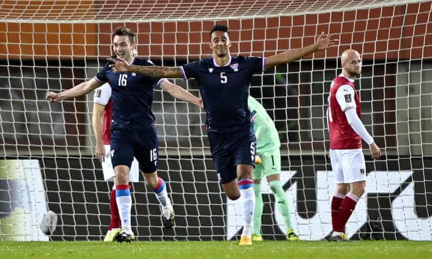 Faroe Islands take a shock lead after Sonni Nattestad (C) scored the opening goal.
