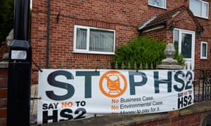 An anti-HS2 signs in South Yorkshire, where the planned HS2 high speed train line will run.