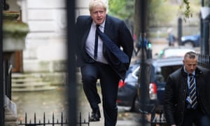 Boris Johnson arriving at No 10 for today's cabinet meeting.