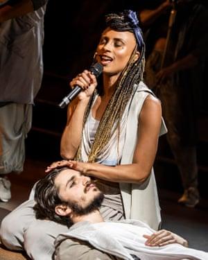 Robert Tripolino and Sallay Garnett in Jesus Christ Superstar at the Barbican.
