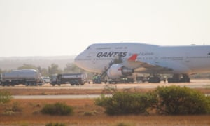The Qantas 747 in Exmouth, Western Australia with 270 passengers who have been evacuated from Wuhan, China due to the outbreak of the Coronavirus.