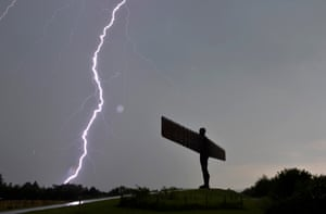 Lightning over the Angel of the North after a heavy storm.