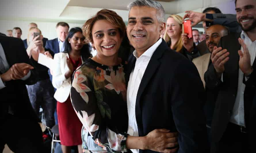Khan with his wife, Saadiya, after winning the contest to become Labour's candidate to become London mayor in 2015.