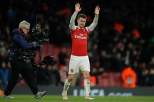 Aaron Ramsey celebrates at the final whistle.