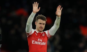 Aaron Ramsey salutes the fans after scoring in the Arsenal win against Napoli.