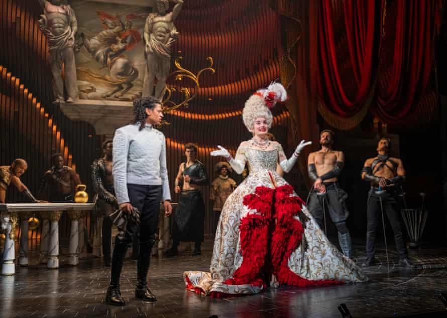 Ivano Turco as Prince Sebastian and Rebecca Trehearn as the Queen in Cinderella.